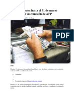 Afiliados tienen hasta el 31 de marzo para decidir su comisión de AFP