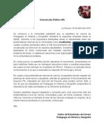 Comunicado Público Nº4 - 2013