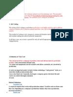 Cost Process Definations