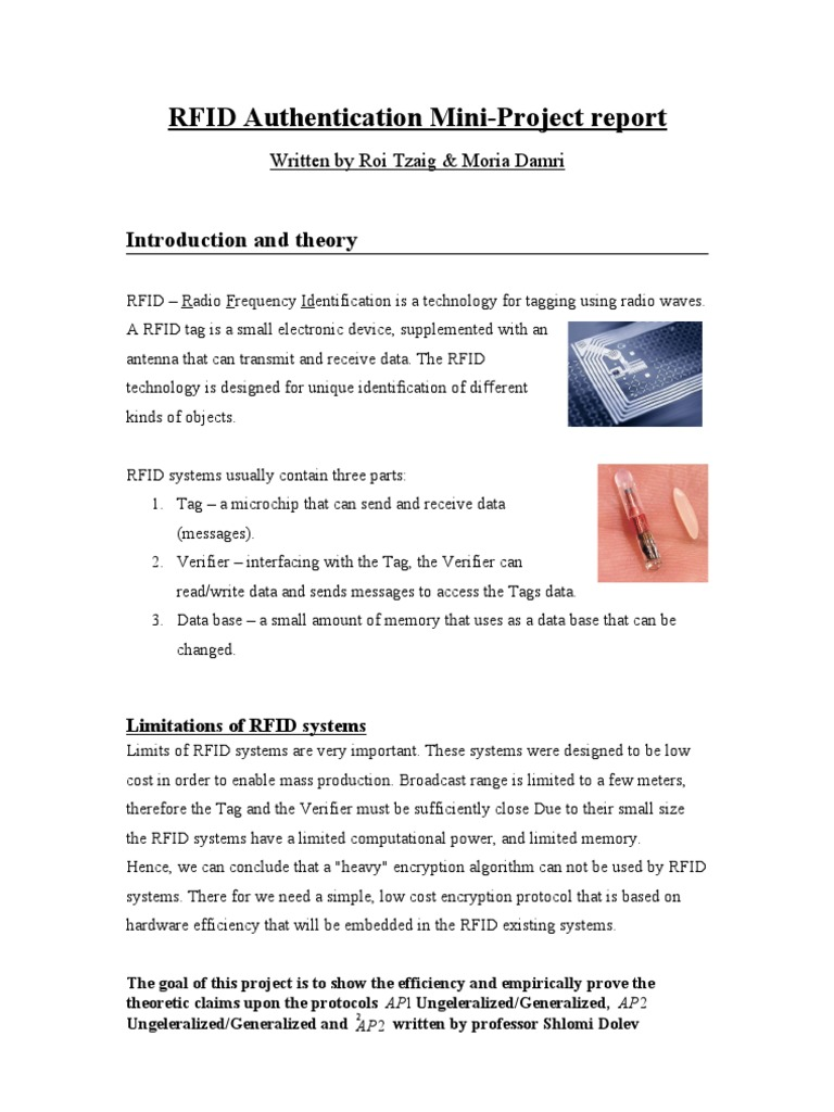 RFID2 Report | Radio Frequency Identification | Areas Of