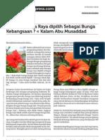 Ibnismail.wordpress.com Kenapa Bunga Raya Dipilih Sebagai Bunga Kebangsaan Kalam Abu Musaddad
