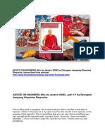 """Dzongsar Jamyang Khyentse Rinpoche on """"ADVICE ON NGONDRO"""" (Rio de Janeiro, 2008) transcibed from podcast."""