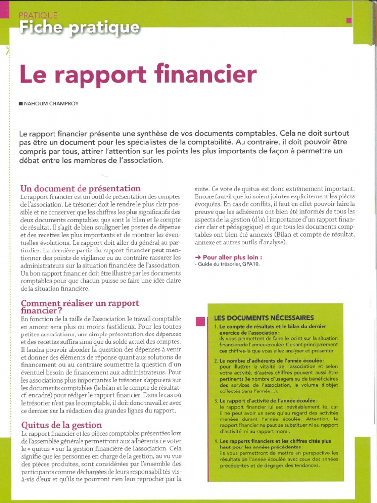 Fiche Pratique Exemple Rapport Financier Rediger Rapport Financier Associations Tresorier 1 Pdf