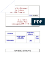Catalogue of New Testament New Testament Papyri