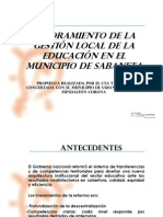 Mejoramiento de la gestión de la educación en el municipio