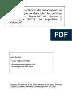 Gordon Ariel - Politicas de RHCT en Argentina y Colombia - Lasa 2007 v2.5
