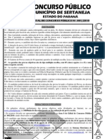 Consulplan 2010 Prefeitura de Sertaneja Pr Agente de Servicos Prova