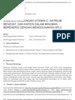 Analisis Kandungan Vitamin c, Natrium Benzoat, Dan Kafein Dalam Minuman Berenergi Dengan Menggunakan Hplc