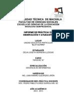Informe Practica de Observacion y Ayudantia 2012 Lisseth Herrera