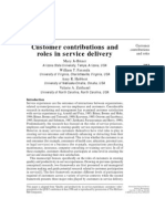 Customer Contributions and Role in Service Delivery