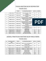 Jadwal Praktikum Anatomi Blok Respiratory Tahun 2011