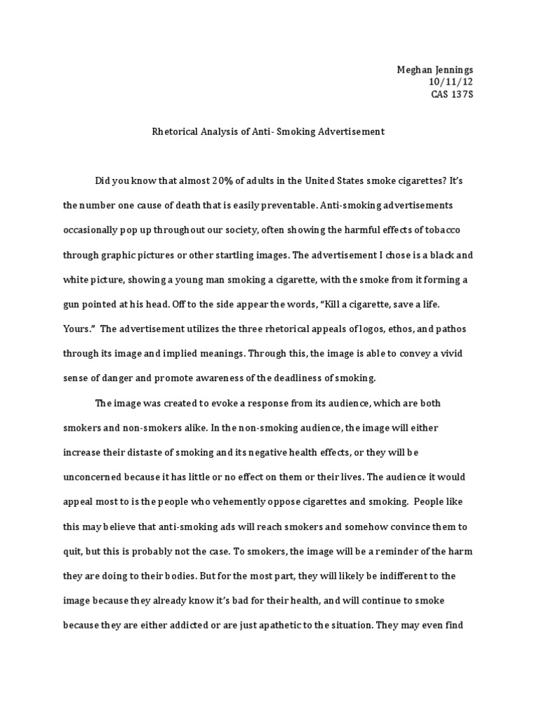 English Essays Book  From Thesis To Essay Writing also Apa Format Sample Paper Essay Antismoking Advertisement  Rhetorical Analysis  Smoking  Cigarette Persuasive Essay Topics For High School