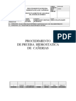PROC. DE PRUEBA HIDROSTATICA DE CAÑERIAS