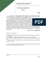 Modele de Subiecte Bacalaureat 2012 Proba a Orala Competente Lingvistice Limba Romana