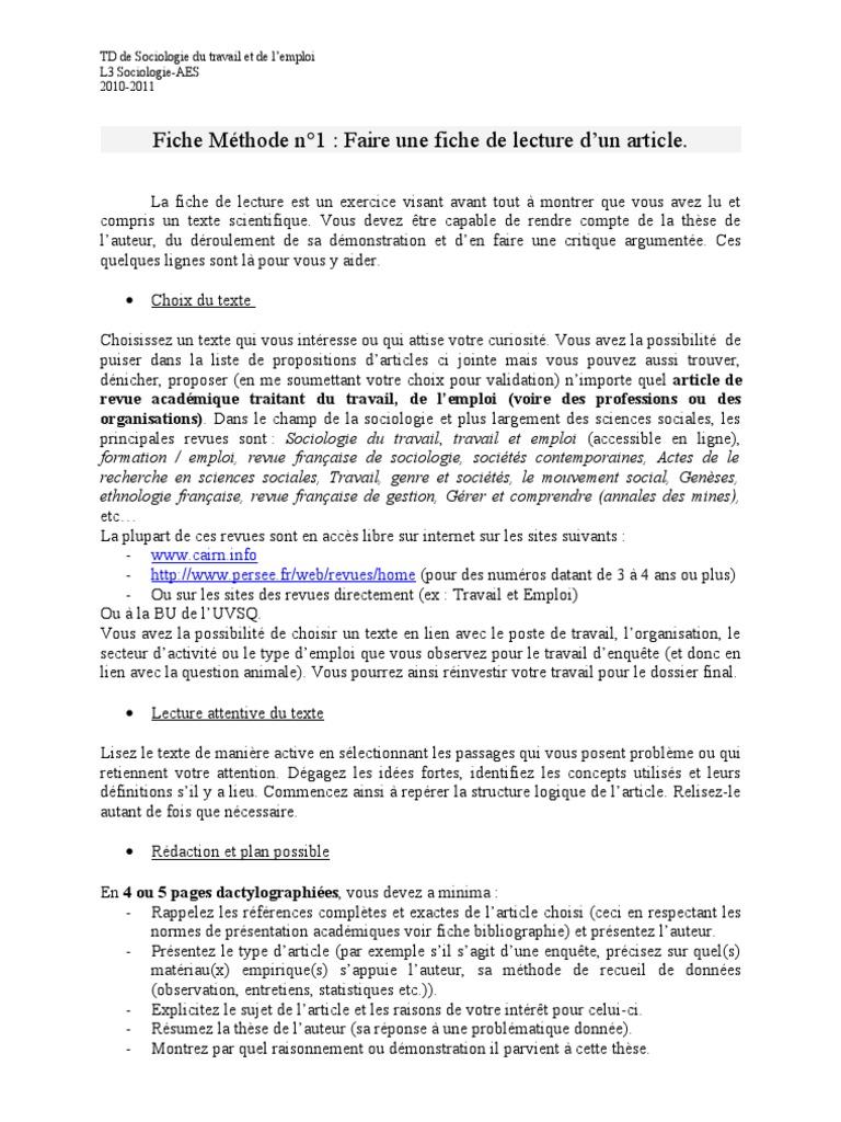 Méthode: fiche de lecture | Sociology | Reading (Process)