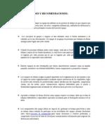 Conclusiones y Recomendaciones Trabajo en Equipo