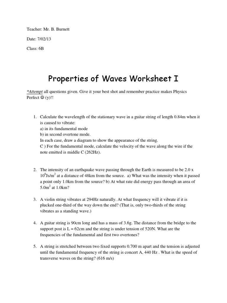 Properties of Waves Worksheet | Waves | Frequency
