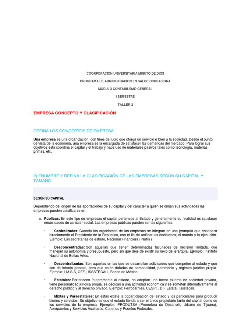 TALLER 2 Empresa concepto y clasificación