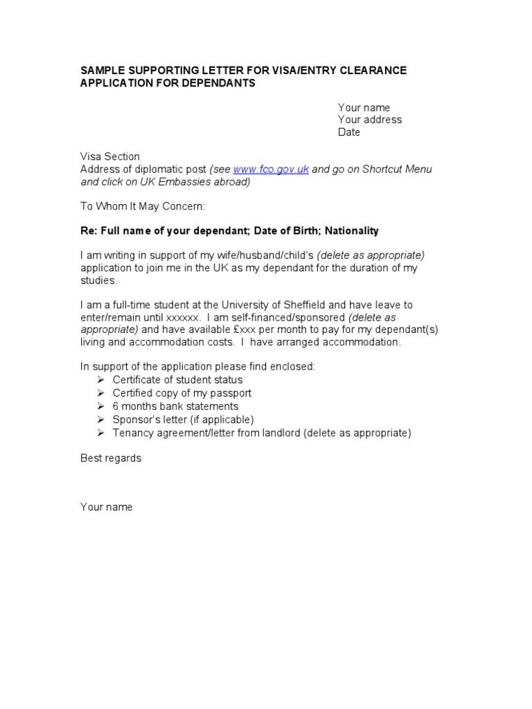 visa sample letter