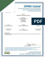 U.S. Rare Earth Minerals, Inc - 2014 Livestock OMRI Certification