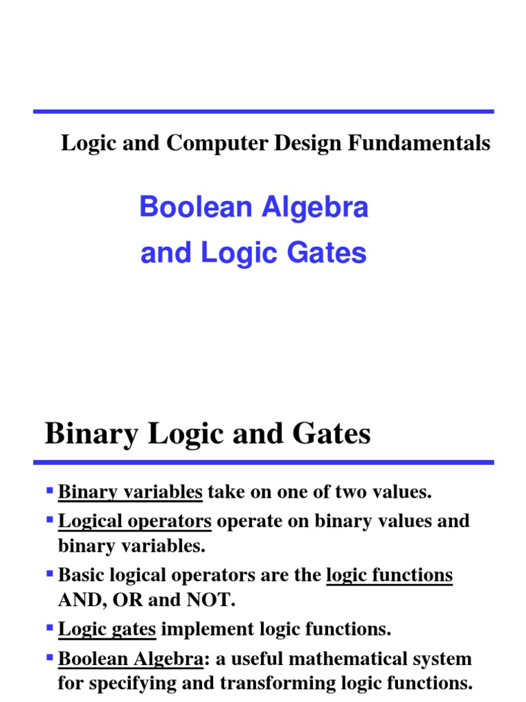 Logic Gatesppt Boolean Algebra Gate Basic Gates And Functions