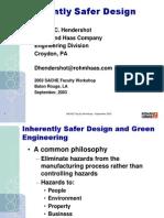 Dennis Hendershot SACHE Inherently Safer Design