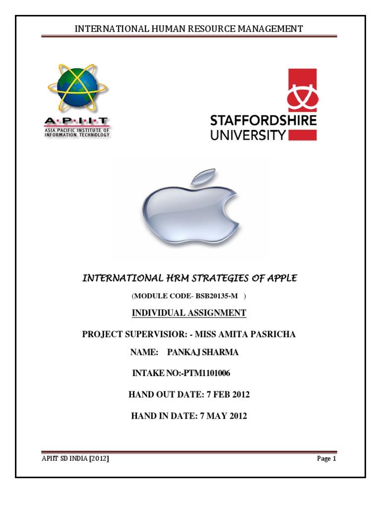 final ihrm assignment apple inc human resource management