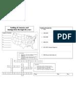 Settling of America worksheet
