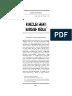 Funkcije i Efekti Masovnih Medija