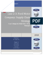 Case Critique Ford Motor Company Supply Chain Strategy