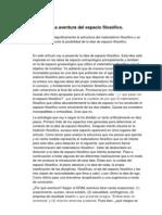 =LA AVENTURA DEL ESPACIO FILOSÓFICO