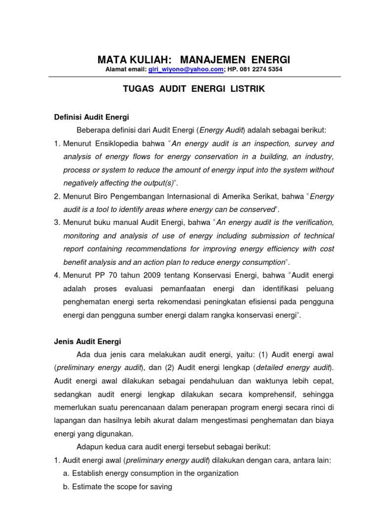 Tugas 1 Audit Energi Listrik