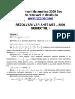 BAC - Rezolvari matematica 2009 | www.Rezolvari.net