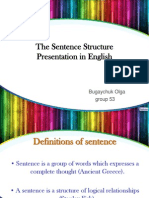 The Sentence Structure Presentation in English