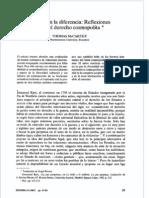 McCarthy, Thomas - Unidad en La Diferencia, Reflexiones Sobre El Derecho Cosmopolita