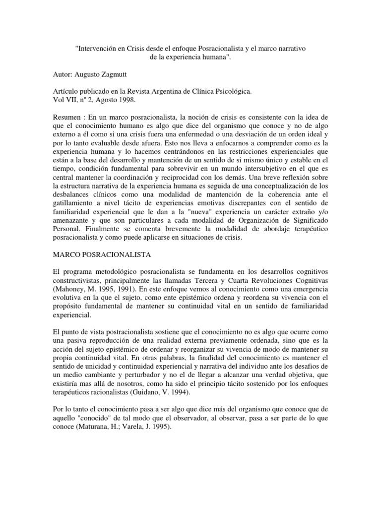 Intervencion en Crisis Desde El Enfoque Posracionalista y El Marco ...