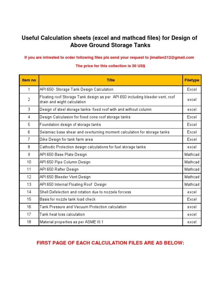 Storage Tanks Calculations Tanks Roof