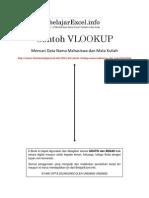 Contoh VLookup Mencari Data Mahasiswa Dan Mata Kuliah