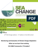"SEA Change webinar ""Monitoring and Evaluation of Climate Change Adaptation Interventions"