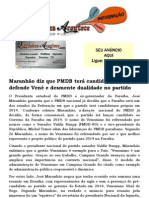 Maranhão diz que PMDB terá candidatura própria, defende Vené e desmente dualidade no partido