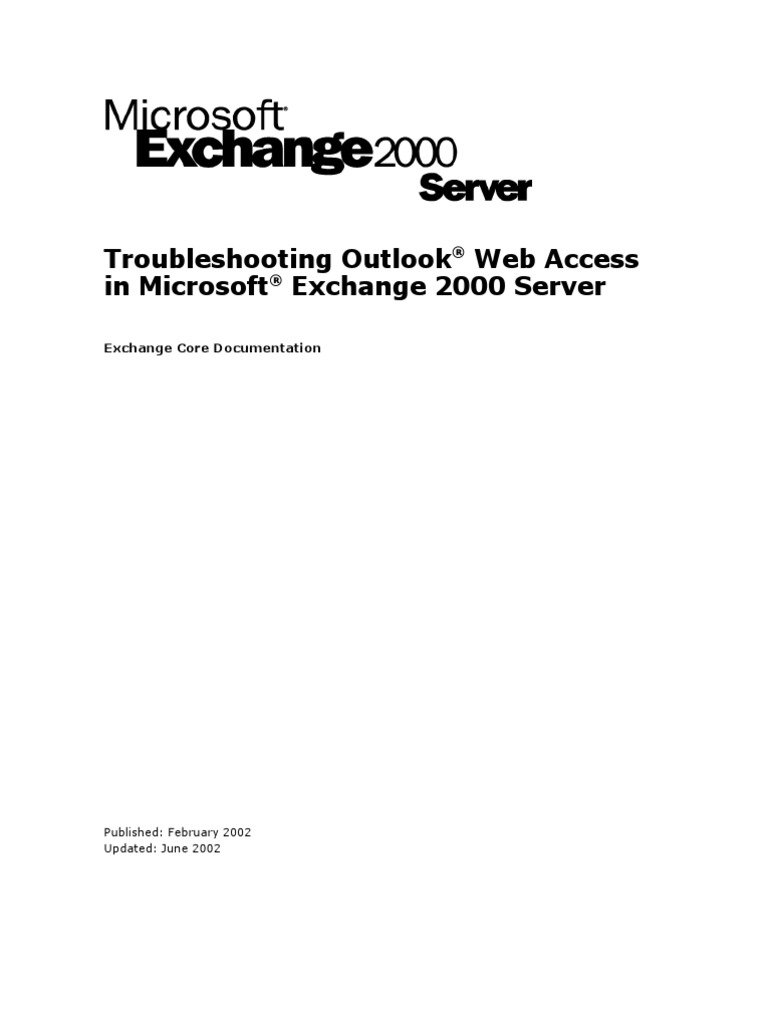 Troubleshooting Outlook Web Access In Microsoft Exchange 2000 Server Hypertext Transfer Protocol Microsoft Outlook