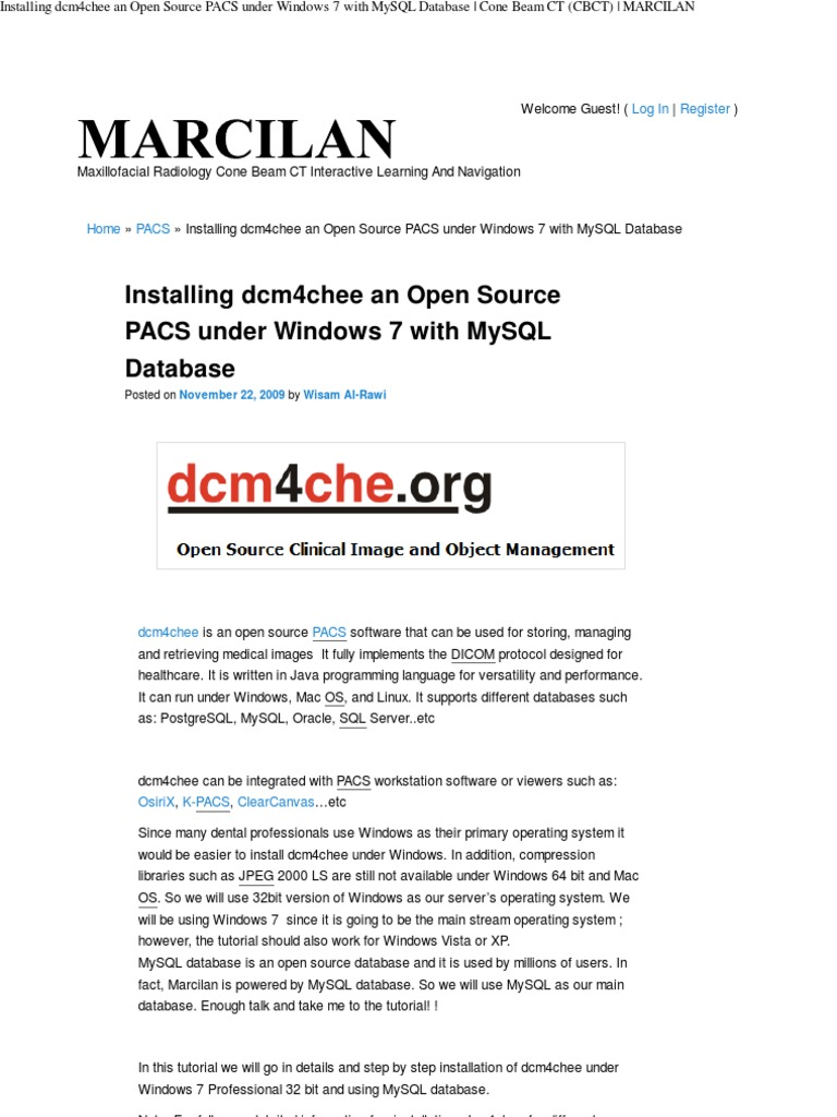Open Source PACS Under Windows 7 | My Sql | Databases