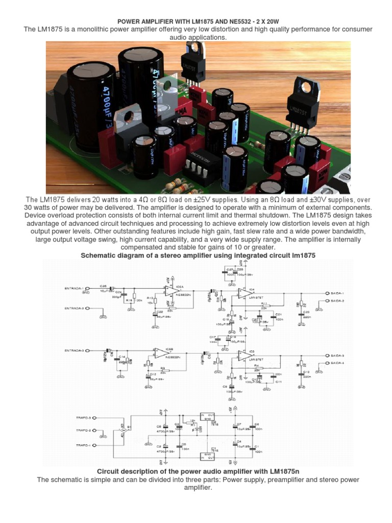 Power Amplifier With Lm1875 And Ne5532 Supply Circuit Diagram Of 150w
