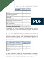ASIGNATURAS DE PRIMER AÑO DE BACHILLERATO GENERAL UNIFICADO Malla Curricular