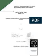 HES3350 Machine Design, Assignment 2