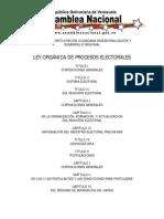 Ley Orgánica de Los Procesos Electorales 20 /05/ 09