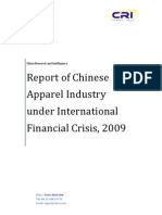 Report of Chinese Apparel Industry under International Financial Crisis, 2009