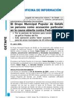 Nota Prensa, 01.04.09 - Personación PP causa contra Pedro Castro
