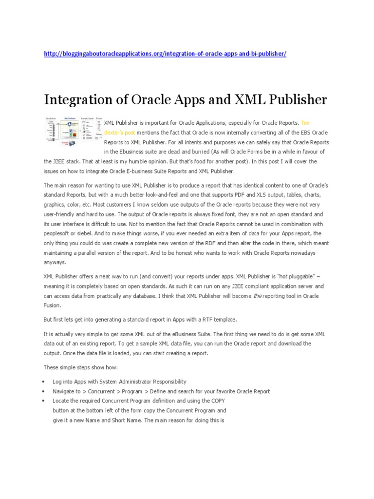 xml publ | Oracle Database | Microsoft Word