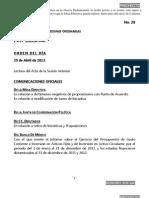 29/04/13 Orden del Día en Cámara de Diputados
